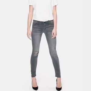 Mother Denim The Looker Skinny Gray Jeans